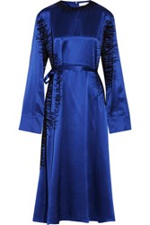 J.W.Anderson Flocked Silk Satin Maxi Dress Royal Blue