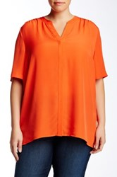 Nydj Wovern Key Item Blouse Plus Size Orange