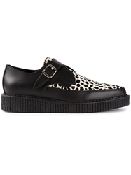 Underground Animal Print Buckled Platform Loafers Black