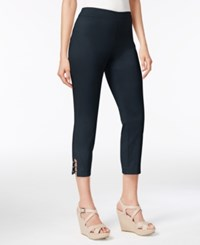 Jm Collection Pull On Lattice Inset Capri Pants Only At Macy's Intrepid Blue
