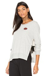 Pam And Gela Side Slide Crew Neck Lip Sweatshirt Gray