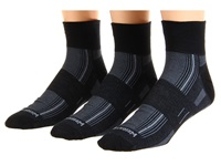 Wrightsock Dl Stride Qtr 3 Pair Pack Black Quarter Length Socks Shoes