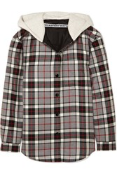 Alexander Wang Checked Wool Flannel And Cotton Jersey Jacket Gray