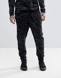 Asos Knitted Trousers With Zebra Detail And Metallic Yarn Black
