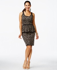 Thalia Sodi Leopard Print Peplum Sweater Dress Only At Macy's Natural Combo
