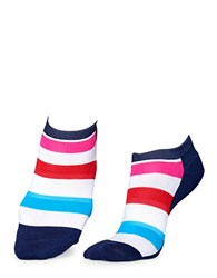 Happy Socks Striped Athletic Low Cut White Navy