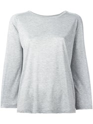 Vince Long Sleeved Oversized T Shirt Grey