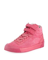 Rag And Bone Nova Mixed Leather Platform Sneakers Pink