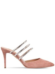 Aquazzura 85Mm Donata Suede And Swarovski Mules Pink