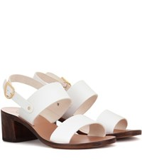 Ancient Greek Sandals Lefki Block Leather White