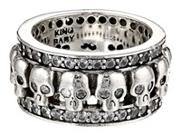 King Baby Studio Wide Band Ring W Skulls And Cz Silver Ring