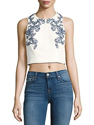Marchesa Beaded Embroidered Cropped Top Ivory