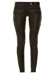 Balmain Skinny Leg Leather Biker Trousers Black