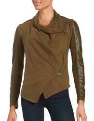 Blank Nyc The Draped Faux Leather Jacket Olive