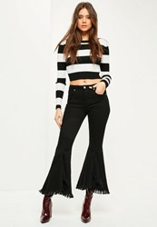 Missguided Black High Waisted Extreme Frayed Skinny Flared Jeans