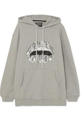 Markus Lupfer Erin Oversized Sequined Cotton Jersey Hoodie Gray