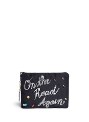Venessa Arizaga 'On The Road Again' Ceramic Charm Silk Clutch Black