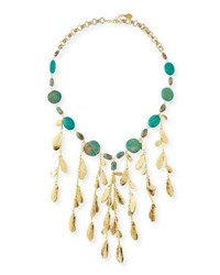 Devon Leigh Mixed Turquoise And Leaf Bib Necklace