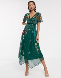 Frock And Frill Short Sleeve Embellished Wrap Midi Dress Green