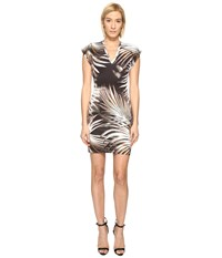 Just Cavalli Palm Print Fitted Short Sleeve Dress Multicolor Variant 1
