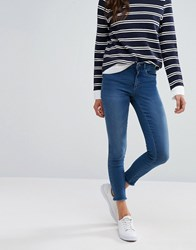 Only Royal Skinny Jeans With Raw Ankle Hem Light Blue Denim