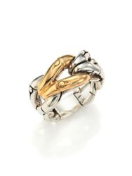 John Hardy Bamboo 18K Yellow Gold And Sterling Silver Link Ring