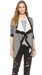 Three Dots Contrast Open Terry Cardigan Charcoal Grey