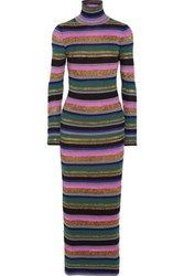 Emilio Pucci Metallic Striped Wool Blend Maxi Dress Fuchsia