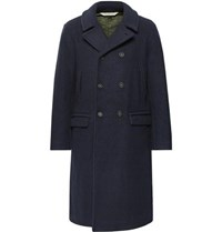 Massimo Alba Double Breasted Brushed Wool Blend Overcoat Navy