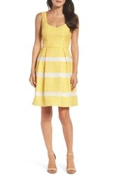 Adrianna Papell Women's Lemon Drop Jacquard Fit And Flare Dress Yellow Ivory