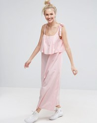 Asos Double Layer Maxi Dress In Cotton Baby Pink
