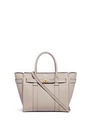 Mulberry 'Small Zipped Bayswater' Grainy Leather Tote Brown