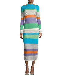 Diane Von Furstenberg Long Sleeve Knit Colorblock Midi Dress Multi