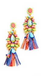 All Things Mochi African Raffia Circle Earrings Multi