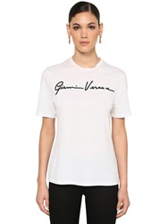 Versace Signature Logo Cotton Jersey T Shirt White