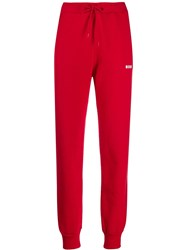 Msgm Logo Sweat Pants Red