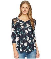 Tribal 3 4 Sleeve Floral Top With Lace Detail Twilight Clothing Blue