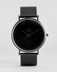 Asos Mesh Strap Watch In Black Black