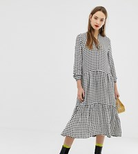 Moss Copenhagen Midi Shirt Dress In Gingham Cream