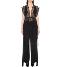 Givenchy Floral Lace Silk Waistcoat Black