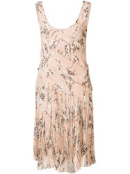 Jason Wu Floral Pleated Dress Nude Neutrals