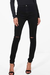 Boohoo High Rise Rip Knee Disco Skinny Jeans Black