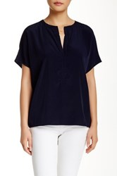 Zoa Short Sleeve Split Neck Blouse Blue
