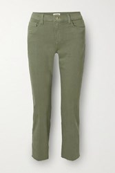 L'agence Sada Cropped High Rise Slim Leg Jeans Green