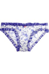 Heidi Klum Intimates Embrasse La Ruched Silk Chiffon Briefs Blue