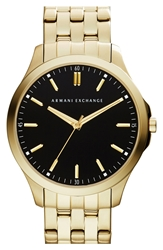 Armani Exchange Round Bracelet Watch 45Mm Gold Black