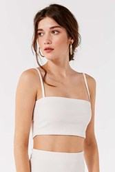 Urban Outfitters Uo Kimmy Straight Neck Tank Top Ivory