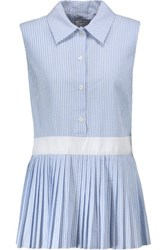 Thom Browne Seersucker Cotton Peplum Blouse Light Blue