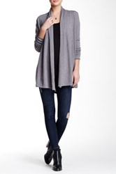 Dreamers By Debut Open Front Lightweight Knit Cardigan Gray