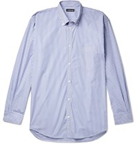 Balenciaga Button Down Collar Striped Cotton Poplin Shirt Blue